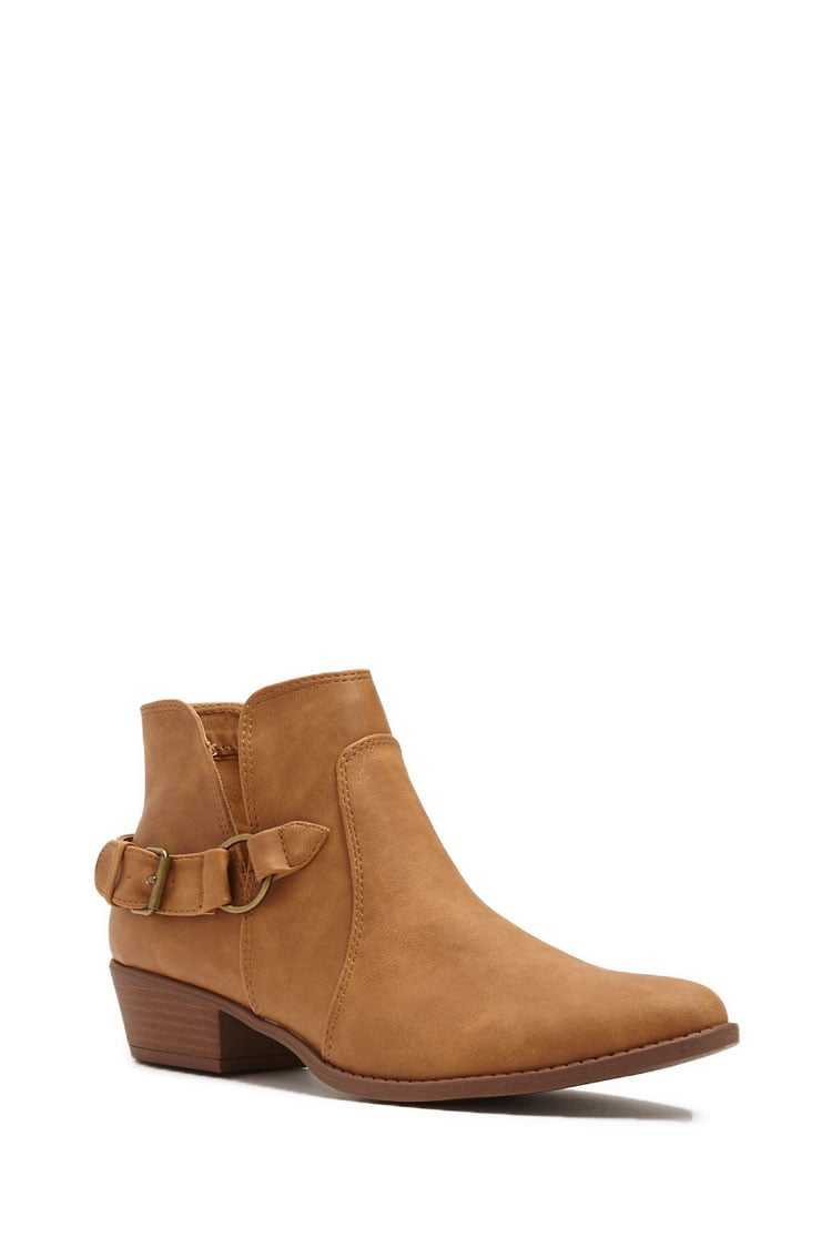 Forever 21 Qupid Faux Leather Buckle Booties