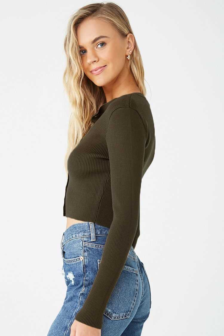 Forever 21 Ribbed Button Front Cardigan