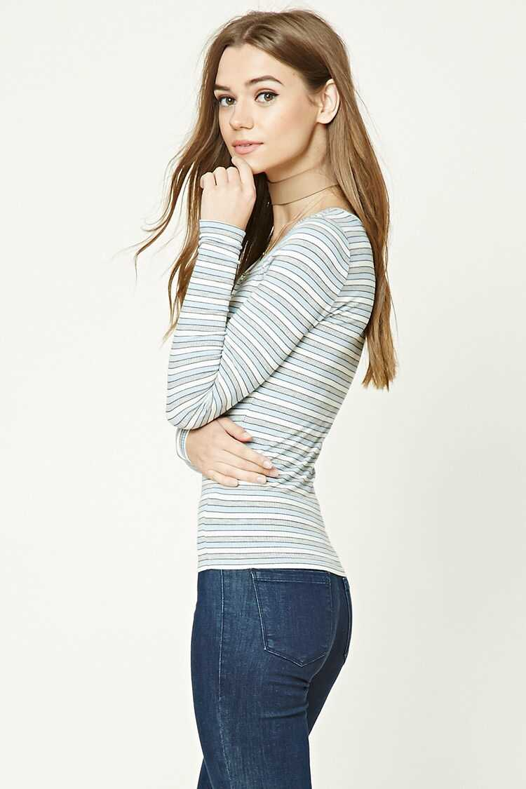 Forever 21 Ribbed Knit Striped Henley