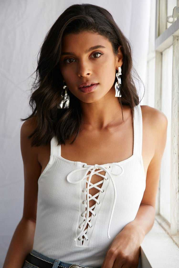 Forever 21 Ribbed Lace-Up Bodysuit