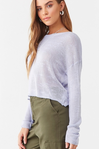 Forever 21 Round Neck Open-Knit Top