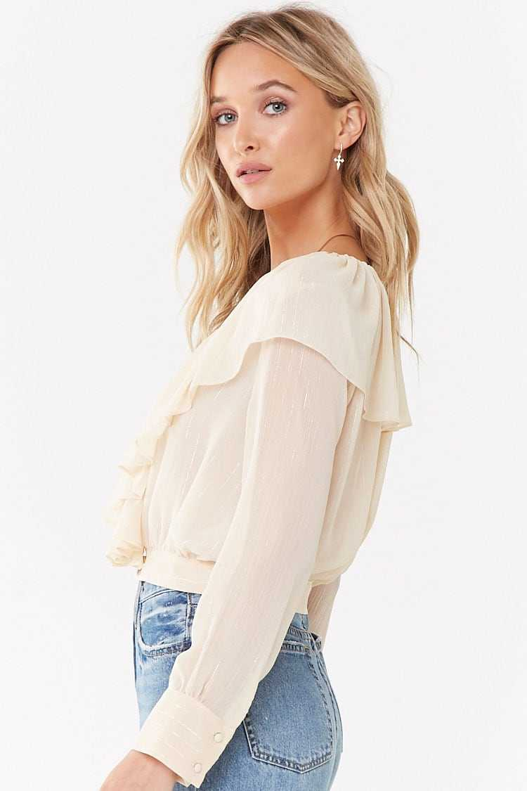 Forever 21 Ruffled Button-Front Cropped Shirt