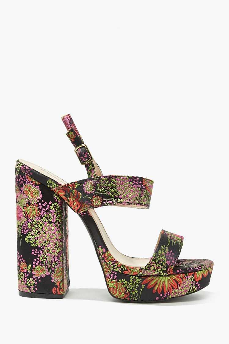 Forever 21 Satin Embroidered Heels