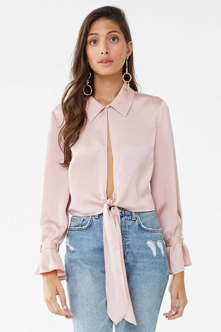 Forever 21 Satin Keyhole Self-Tie Top