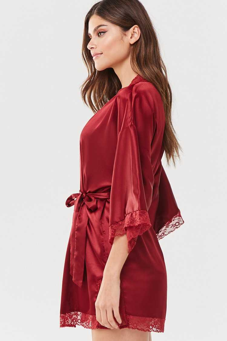 Forever 21 Satin Lace-Trim Robe