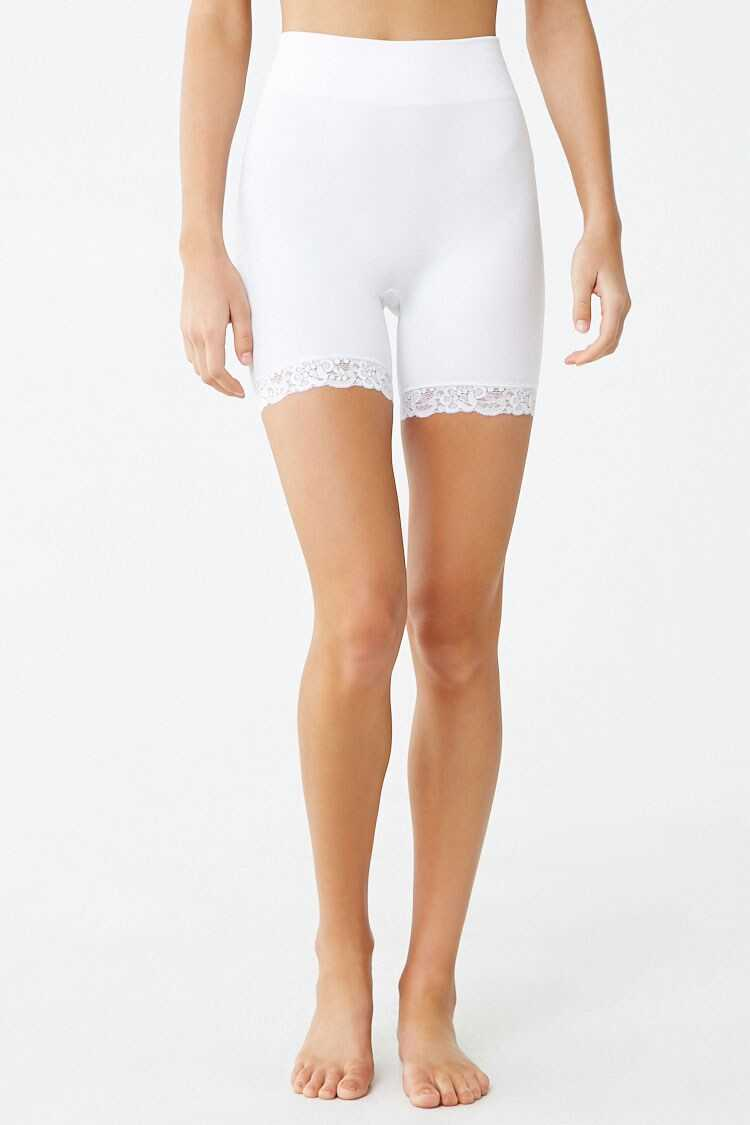 Forever 21 Seamless Ribbed Lace-Trim Shorts