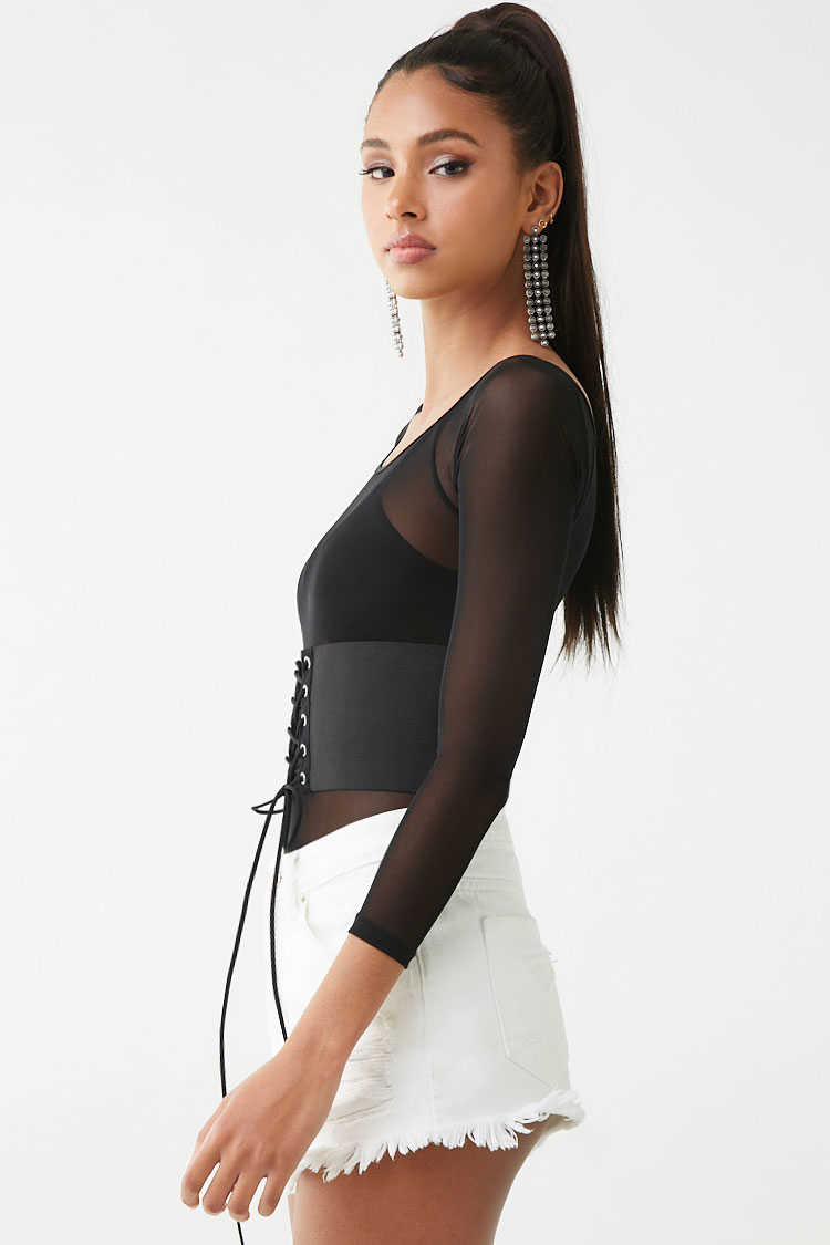Forever 21 Sheer Corset-Belt Bodysuit