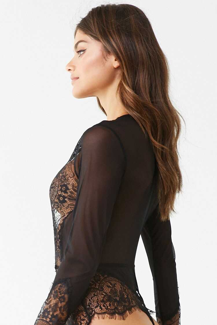 Forever 21 Sheer Floral Lace Teddy