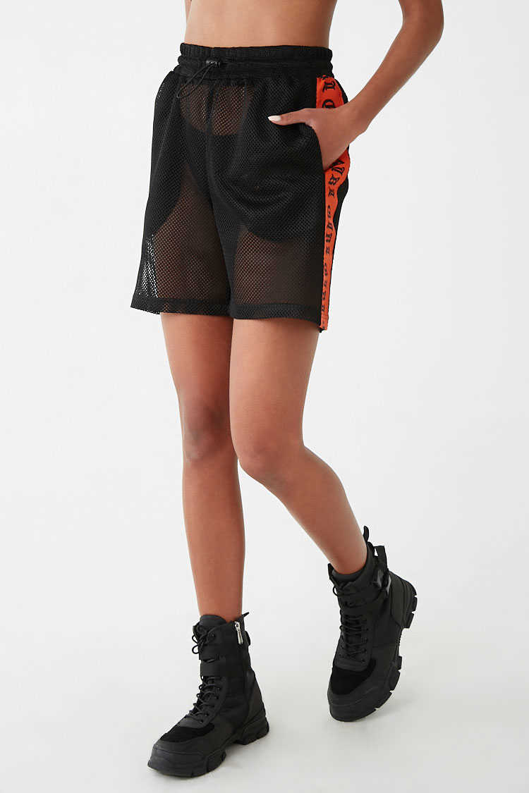 Forever 21 Sheer Jersey Mesh Girl Graphic Striped-Trim Shorts