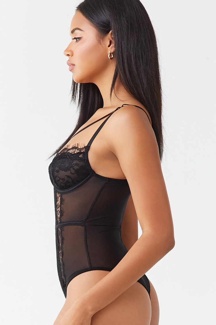 Forever 21 Sheer Lace Teddy