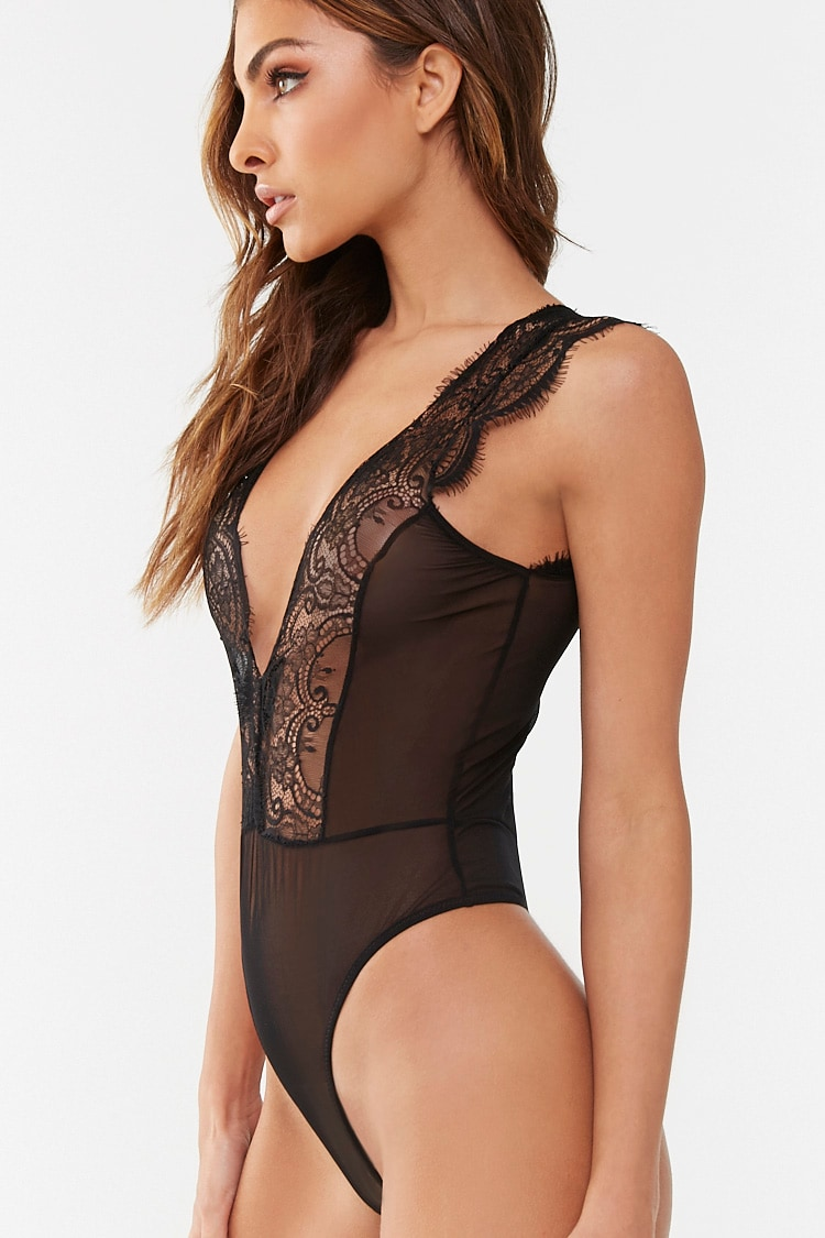 Forever 21 Sheer Lace-Trim Teddy