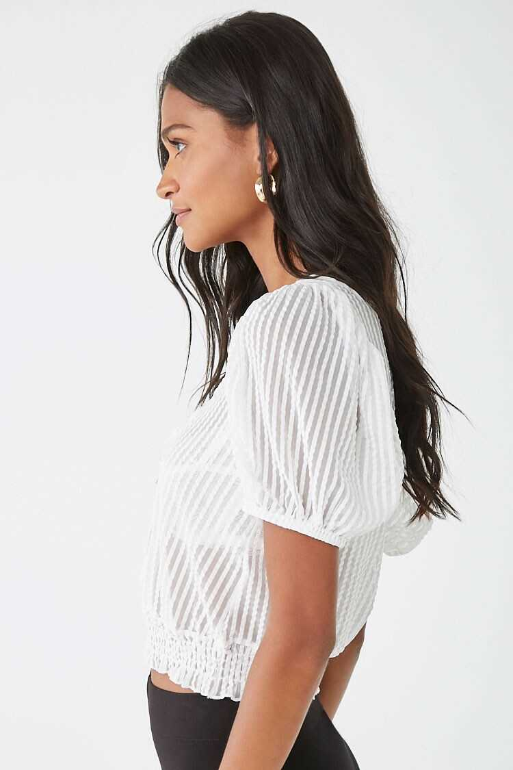 Forever 21 Sheer Striped Cutout Top
