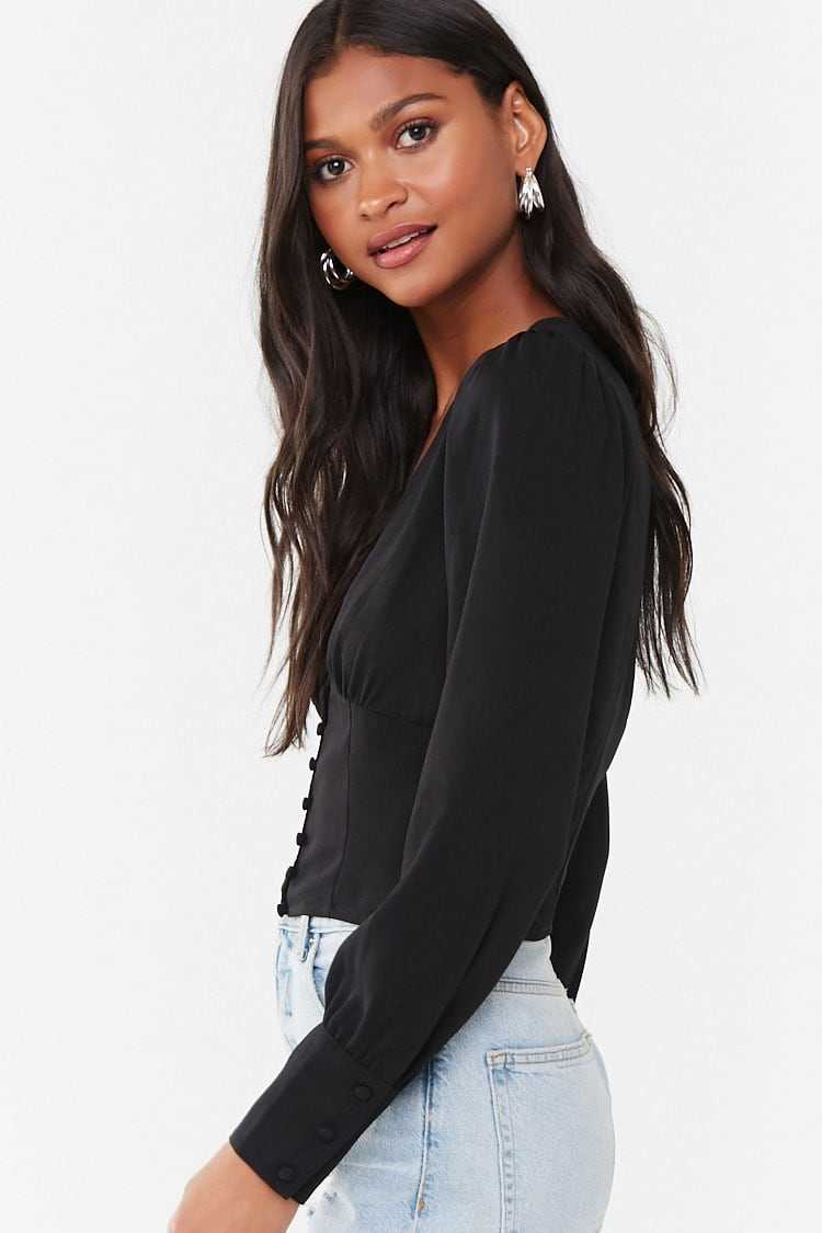 Forever 21 Shirred Button-Loop Shirt