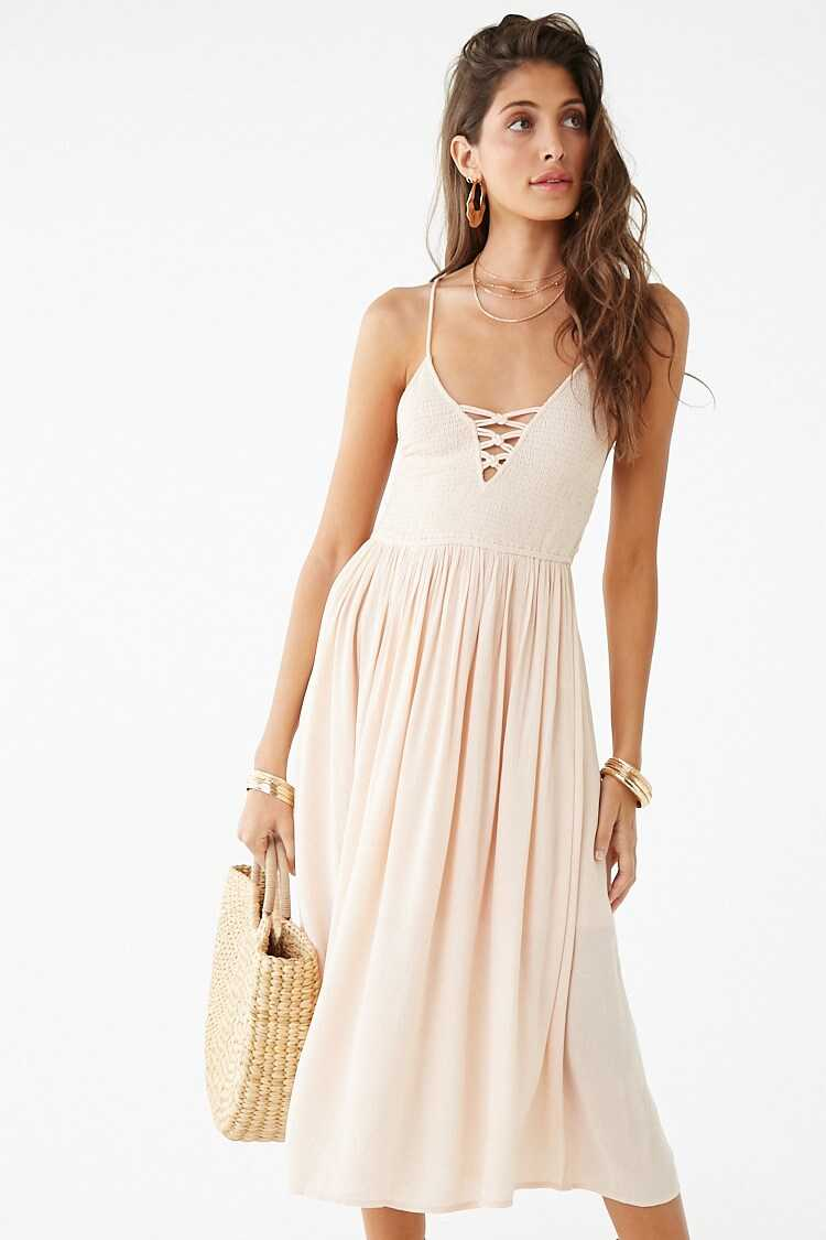 Forever 21 Smocked Lace-Up Dress