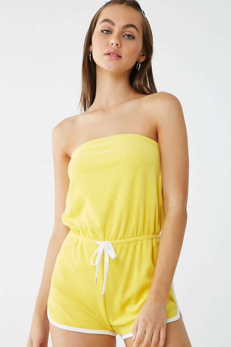 Forever 21 Strapless Striped-Trim Terrycloth Romper