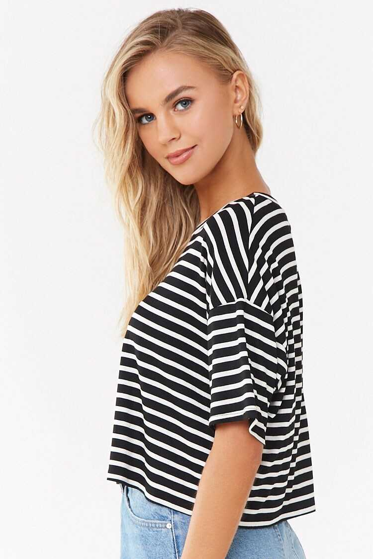 Forever 21 Striped Cropped Tee