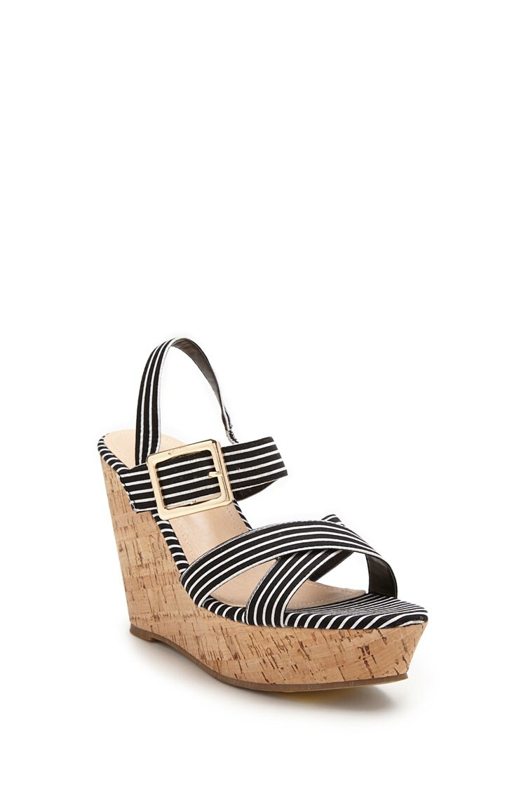 Forever 21 Striped Crossover Cork Wedges