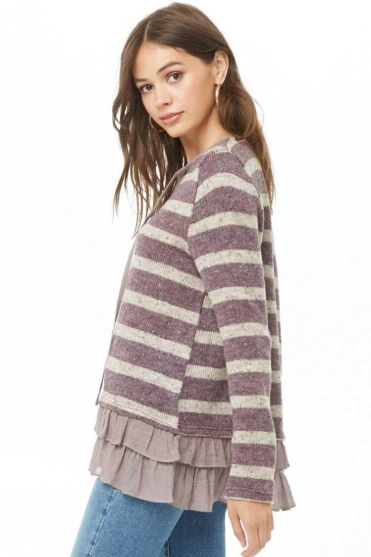 Forever 21 Striped Knit Ruffle-Hem Combo Top