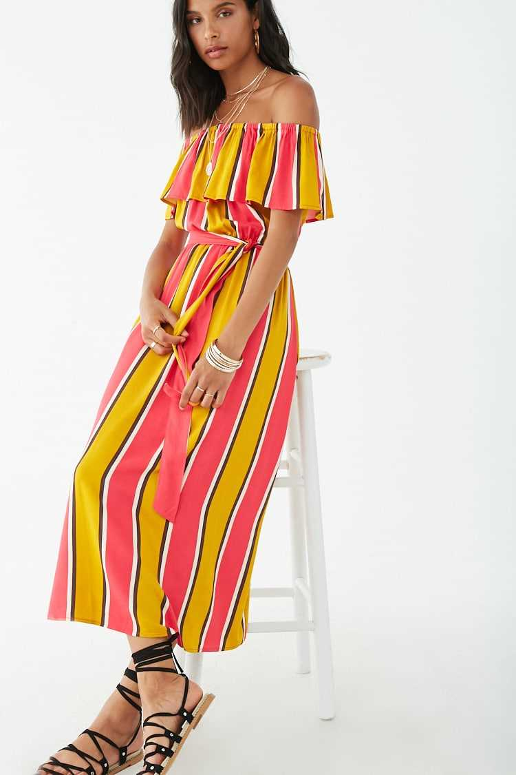Forever 21 Striped Off-the-Shoulder Flounce Maxi Dress