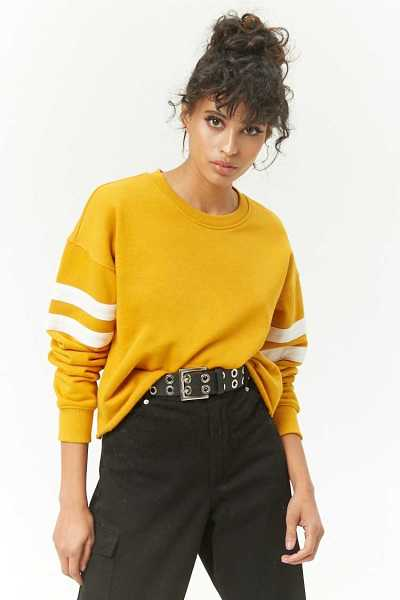 Forever 21 Striped Raw-Cut Pullover