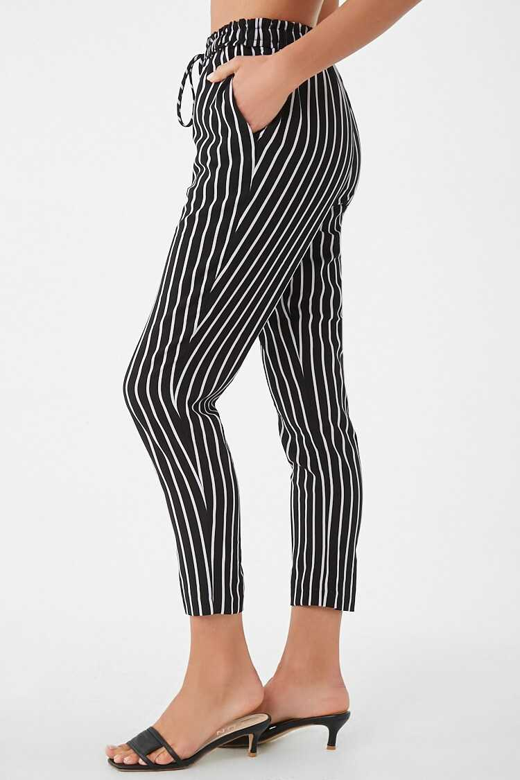 Forever 21 Striped Ruffled-Waist Pants
