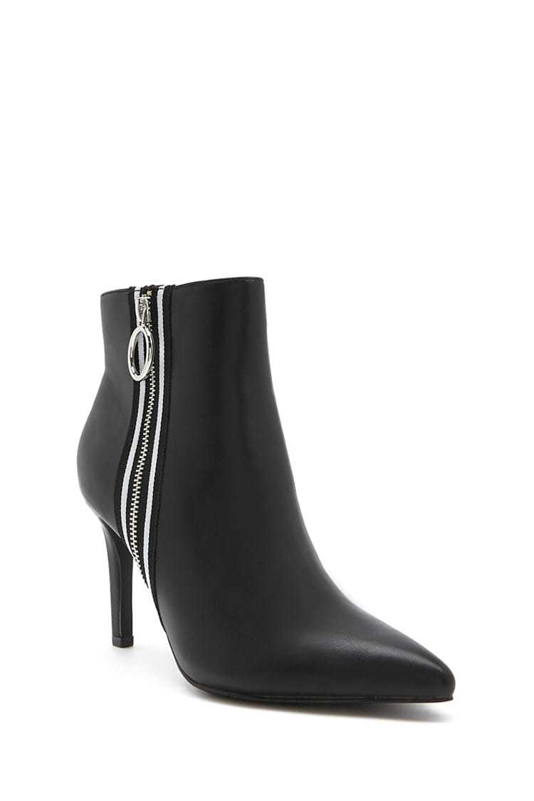Forever 21 Striped-Trim Stiletto Booties