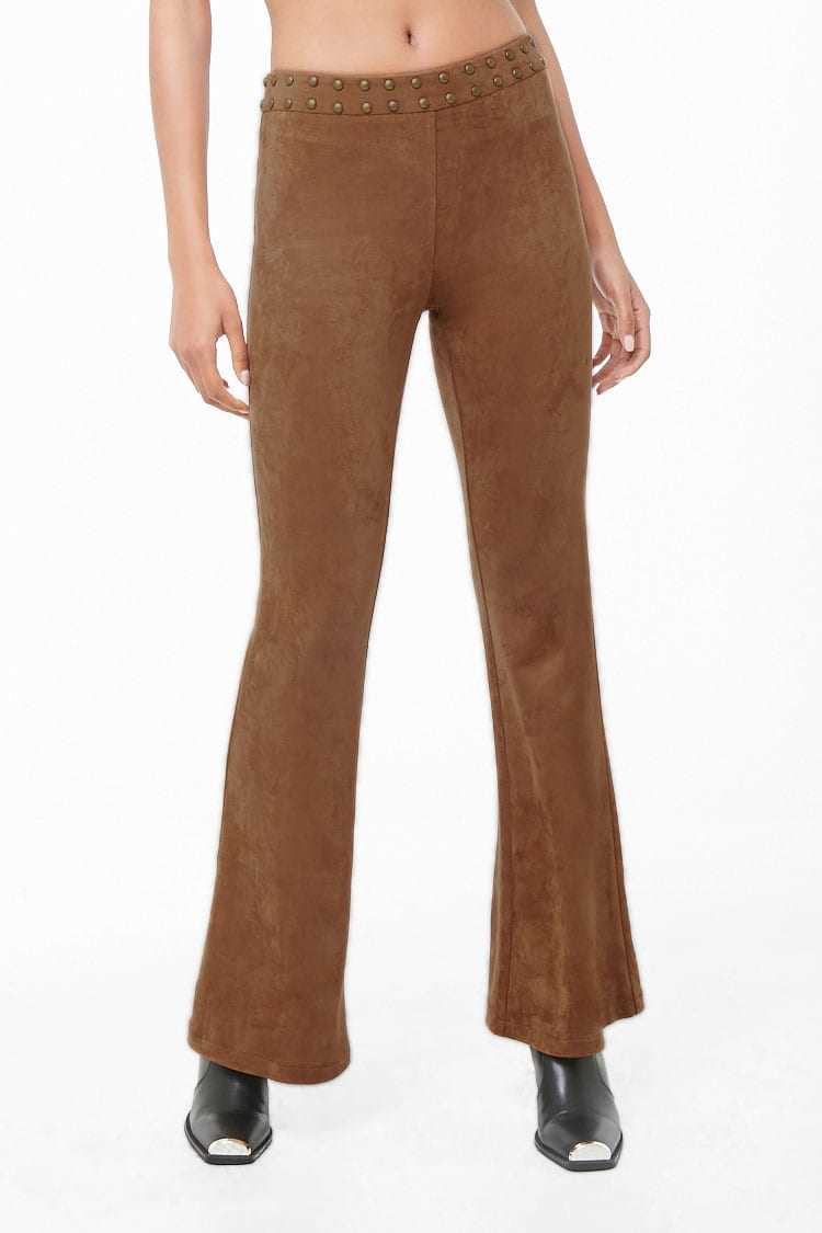 Forever 21 Studded Faux Suede Flare Pants