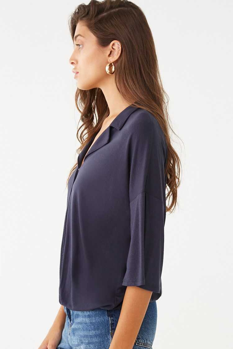 Forever 21 Surplice Notched-Collar Top