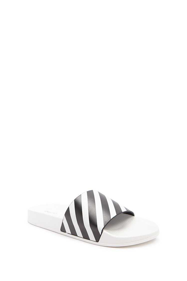 Forever 21 Textured Striped Slides