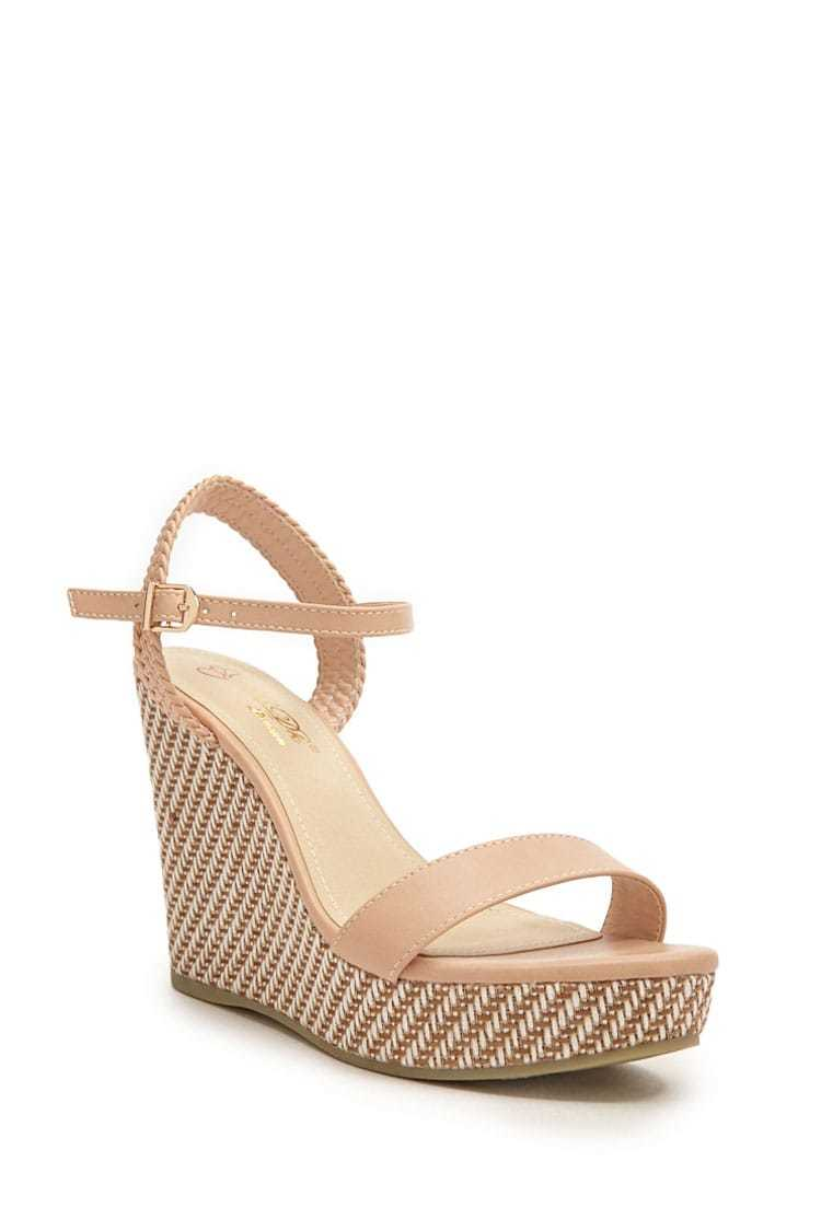 Forever 21 Threaded Faux Leather Wedges