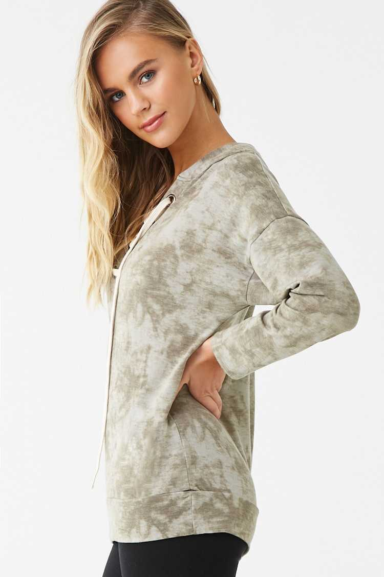 Forever 21 Tie-Dye Lace-Up Hoodie