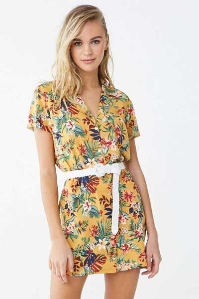 Forever 21 Tropical Floral Print Shirt Dress