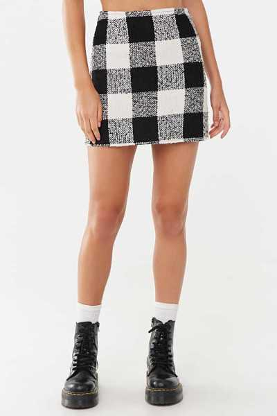 Forever 21 Tweed Buffalo Plaid Mini Skirt