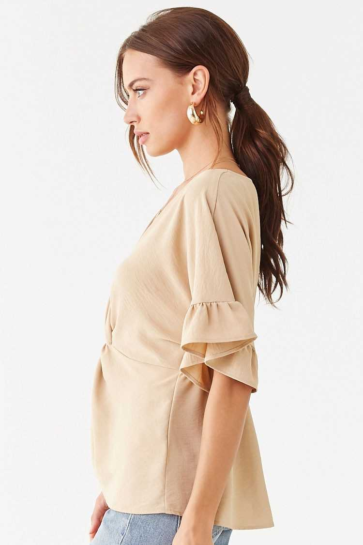 Forever 21 Twist-Front Dolman Ruffle-Trim Top