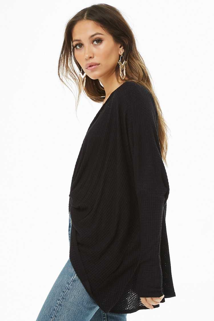 Forever 21 Twist-Front Waffle Knit Top