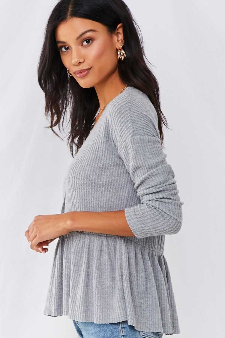 Forever 21 Waffle-Knit Button Front Top