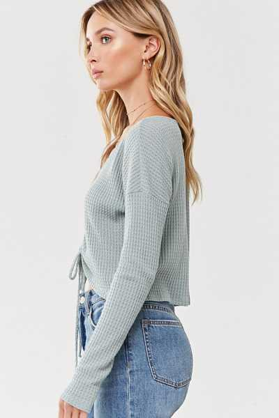Forever 21 Waffle Knit Ruched-Front Crop Top