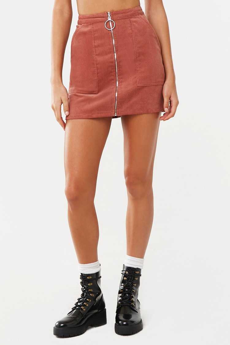 Forever 21 Zip-Front Corduroy Mini Skirt