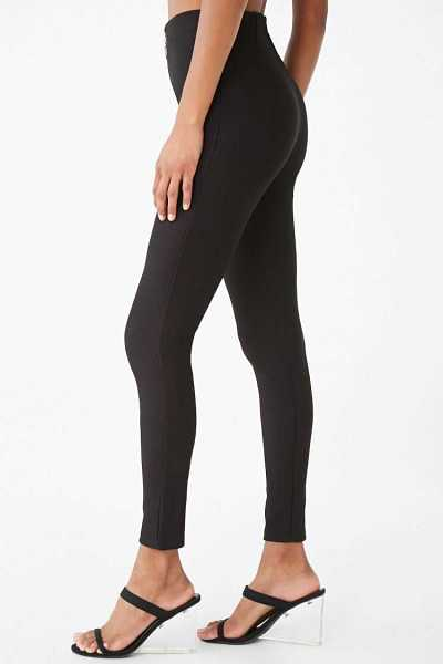Forever 21 Zip-Front Ribbed Pants