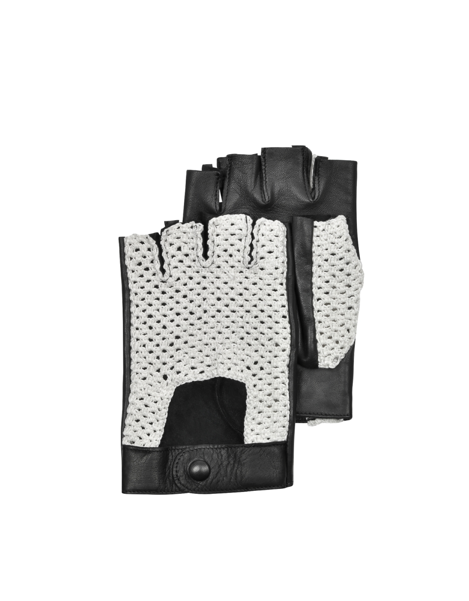 Forzieri  Men's Gloves Black Leather and Cotton Men's Driving Gloves Black USA - GOOFASH - Mens GLOVES
