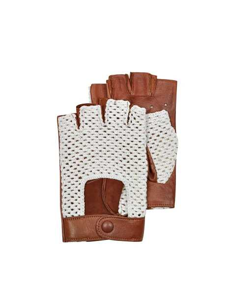 Forzieri Men's Gloves Brown Leather and Cotton Men's Driving Gloves Cognac USA - GOOFASH - Mens GLOVES