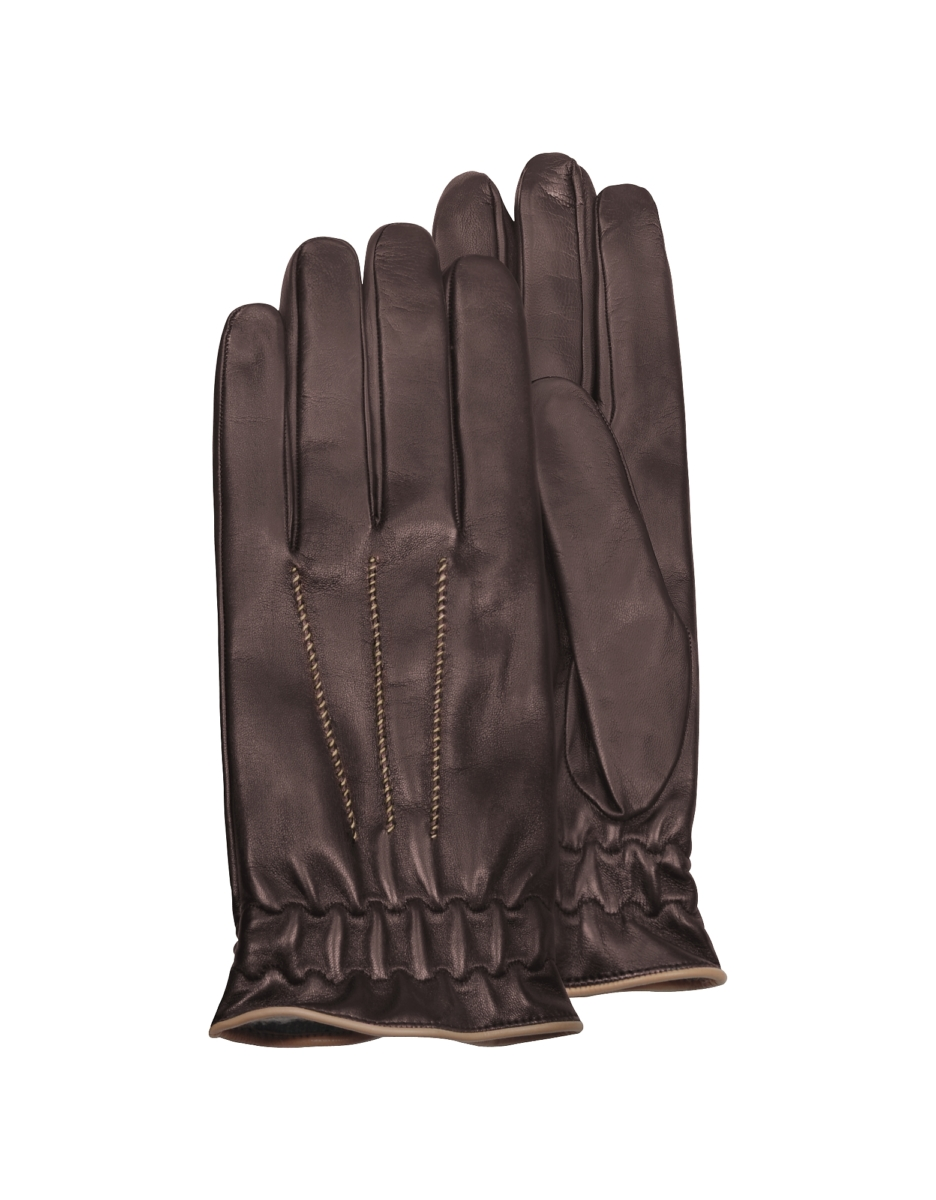 Forzieri  Men's Gloves Men's Brown Cashmere-Lined Calf Leather Gloves Brown USA - GOOFASH - Mens GLOVES