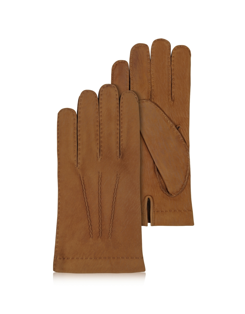 Forzieri  Men's Gloves Men's Cashmere Lined Brown Italian Calf Leather Gloves Brown USA - GOOFASH - Mens GLOVES