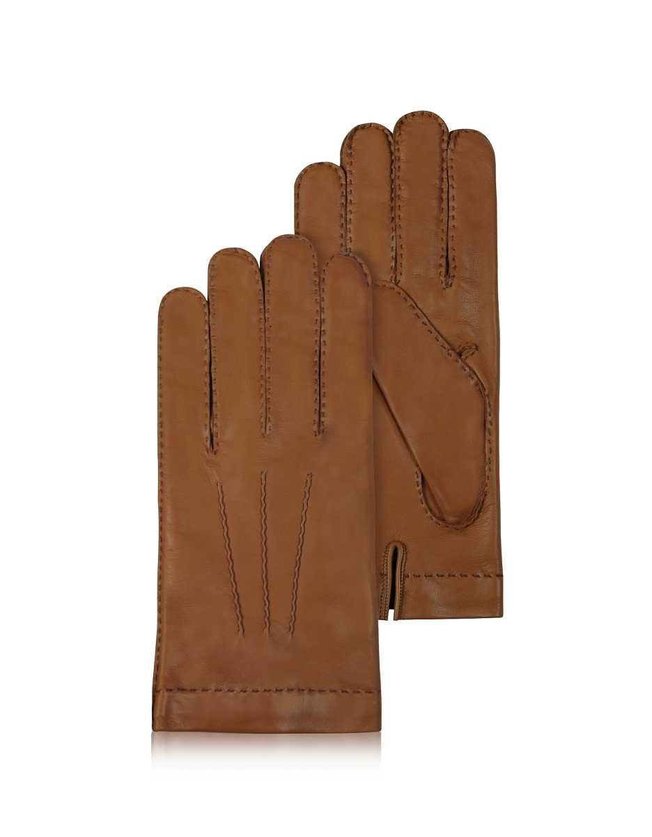Forzieri  Men's Gloves Men's Cashmere Lined Brown Italian Leather Gloves Brown USA - GOOFASH - Mens GLOVES