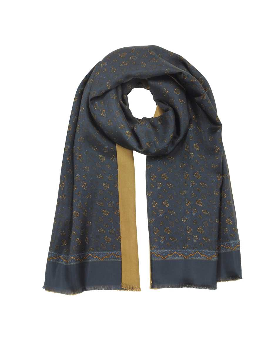 Forzieri  Men's Scarves Modal & Silk Micro Paisley Print Men's Fringed Scarf Blue