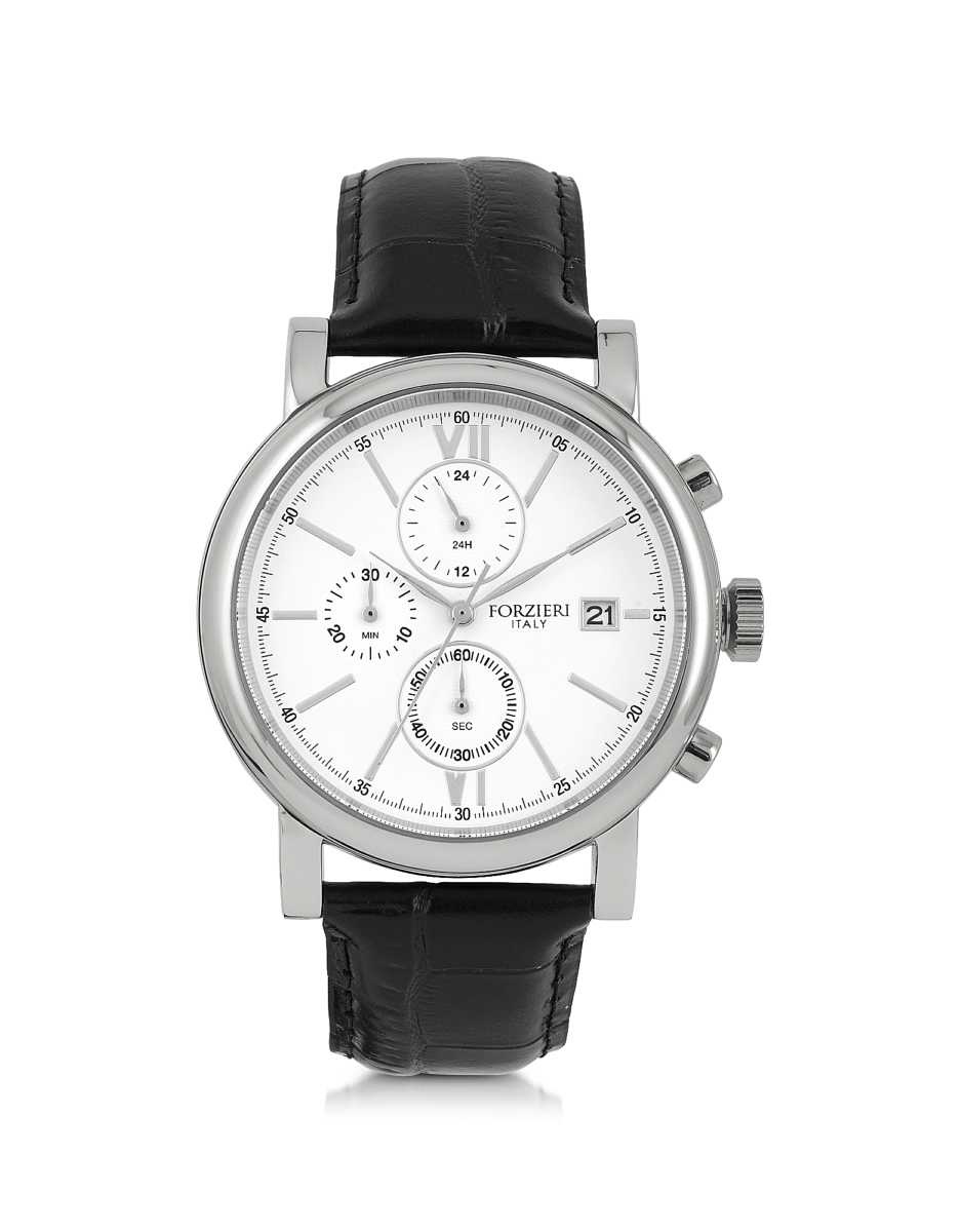 Forzieri  Men's Watches Baviera Silver Tone Stainless Steel Case and Black Embossed Leather Men's Chrono Watch Black USA - GOOFASH - Mens WATCHES