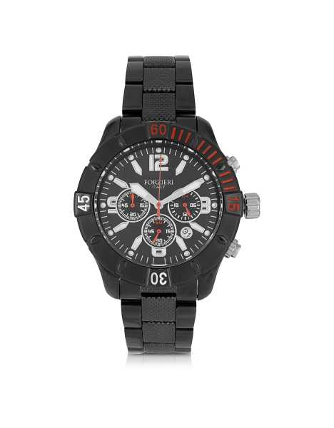 Forzieri Men's Watches Kimi Black and Red Stainless Steel Men's Watch Black USA - GOOFASH - Mens WATCHES