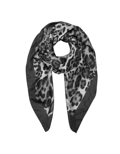 Forzieri Scarves Animal Print Twill Silk Square Scarf Black USA - GOOFASH - Womens SCARFS