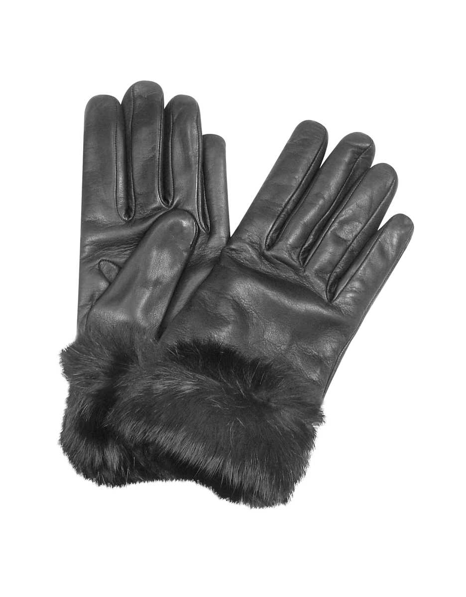 Forzieri  Women's Gloves Black Cashmere Lined Italian Leather Gloves with Fur Black USA - GOOFASH - Womens GLOVES