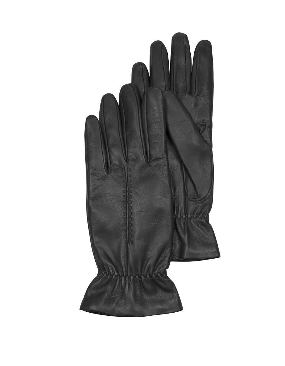 Forzieri  Women's Gloves Black Leather Women's Gloves w/Wool Lining Black USA - GOOFASH - Womens GLOVES